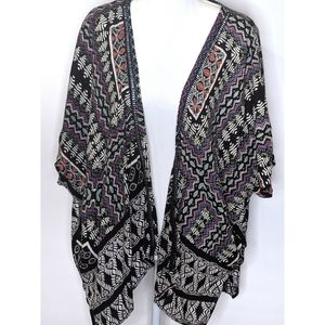 Angie | Tribal Shapes Print Kimono Duster Cover-up